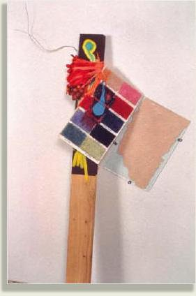 1993 Wood, glass, acrylic and oil paint, carpet sample board, plastic fruit, string, wire 47 x 30 x 11 in 119.4 x 76.2 x 27.9 cm Courtesy Works On Paper, Inc., Los Angeles