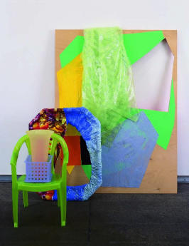 2003 Plywood, shower curtain, plastic tray, papier mâché, plastic, plastic child's chair, three plastic containers 15 x 50 x 32 in 38.1 x 127 x 81.3 cm