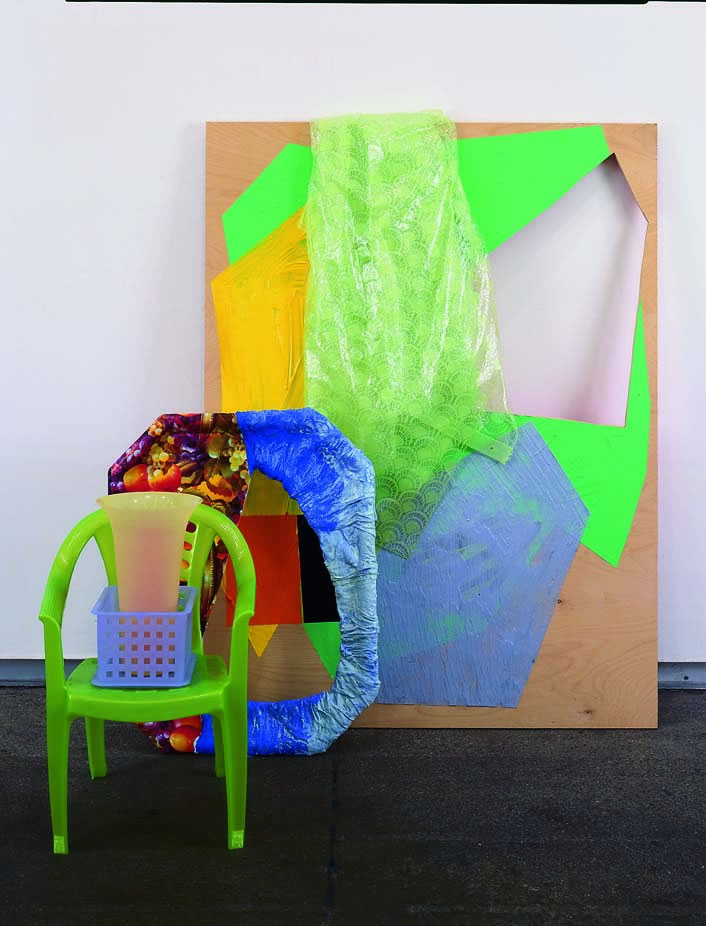2003 Plywood, shower curtain, plastic tray, paper mâché, plastic, plastic child's chair, three plastic containers 15 x 50 x 32 in 38.1 x 127 x 81.3 cm