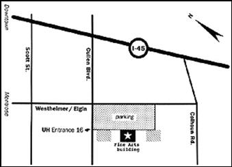 Map of Directions to Blaffer Gallery at I-45 and Cullen Blvd, UH entrance 16 turn left.